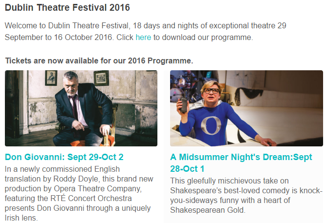 Europes Prestigious-Dublin Theatre Festival [September 22nd-October 9th, 2016]